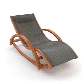 Ampel 24 Relax Schaukelstuhl Rio | 100% wetterfeste Gartenliege | vorbehandeltes Holz | mit Armlehnen | Bezug dunkelgrau -