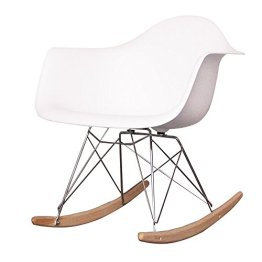 Charles Eames Style Cool White Plastic Retro Rocking Chair -