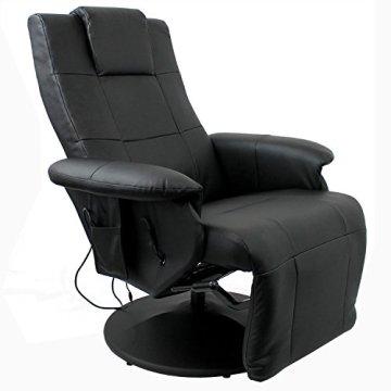 Luxus Shiatsu Massagesessel Entspannungssessel Relaxsessel Fernsehsessel mit Massage Sitzheizung verstellbares Fußteil Beinstütze PU Kunstleder Schwarz -