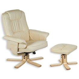 Relaxsessel mit Hocker CHARLY, Fernsehsessel mit Ottomane, creme weiß / beige -