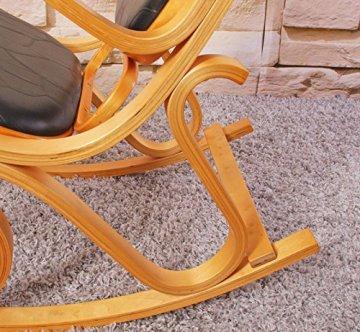 Schaukelstuhl Schwingsessel M41 aus Holz ~ Eiche, Patchworkleder schwarz -