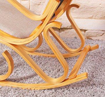 Schaukelstuhl Schwingsessel M41 aus Holz ~ Eiche, Stoff beige -