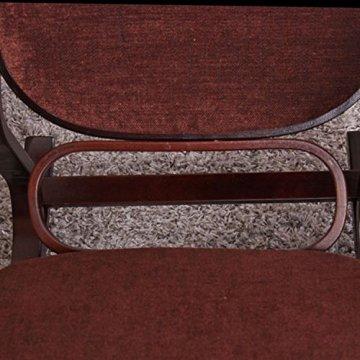 Schaukelstuhl Schwingsessel M41 aus Holz ~ Walnuss, Stoff dunkelbraun -