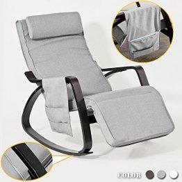 SoBuy® NEU Schaukelstuhl mit Tasche (verstellbares Fussteil),Relaxstuhl,Relaxsessel, schwarzes Gestell, FST20-HG -