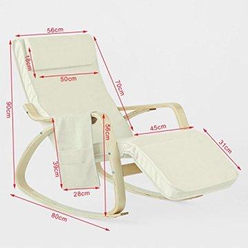SoBuy® Schaukelstuhl mit Tasche (verstellbares Fußteil),Relaxstuhl,Relaxsessel,Belastbarkeit 150kg, FST18-W -