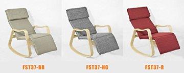 SoBuy® Schaukelstuhl (verstellbares Fussteil), Relaxstuhl,Relaxsessel mit neuer Gestellform, FST37-BR -