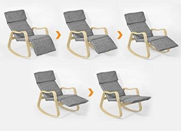 SoBuy® Schaukelstuhl (verstellbares Fussteil), Relaxstuhl,Relaxsessel mit neuer Gestellform, FST37-HG -