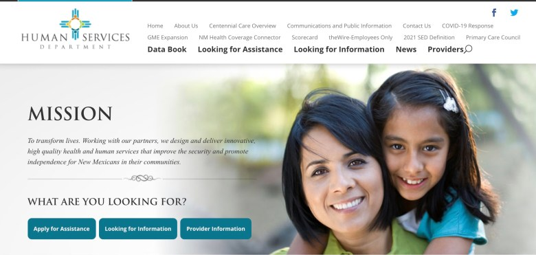 New Mexico Human Services Department homepage