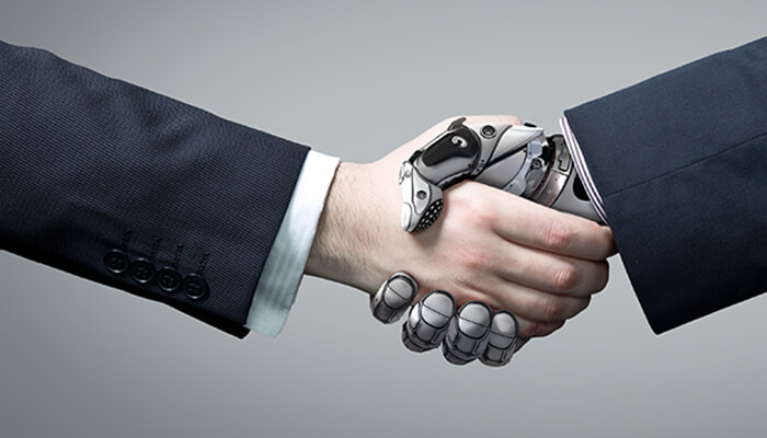 Graphic of a human consultant shaking hands with their technology support
