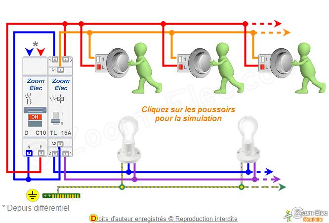 Schema Telerupteur Bipolaire Double Ou 2 Contacts Et Boutons Poussoirs