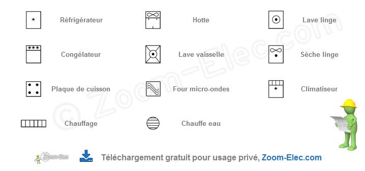 Symboles Electriques Normalises Pour Plan D Electricite De Maison Et Batiment Domestique