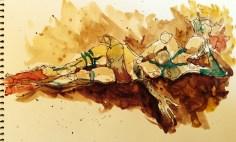 Walnut ink  archival pen  watercolor, Los Angeles model Xine, figure studies Leigh Ann Pfeiffer   Schema[Flows]   2014