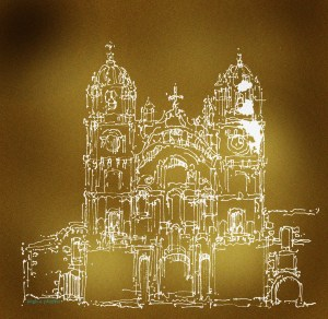 Iglesia de la Compania de Jesus [Cusco] archival pen+ ink on site sketch w/post production adobe photoshop     leigh a pfeiffer[SchemaFlows2014]