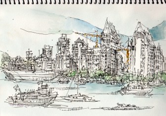 on site sketch during ferry ride San Diego to Coronado- leigh ann pfeiffer [SchemaFlows2014] view West toward San Diego Skyline - watercolor travel kit daler rowney |archival pen + ink