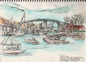 on site sketch during ferry ride San Diego to Coronado- leigh ann pfeiffer [SchemaFlows2014]