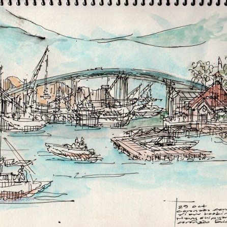 on site sketch during ferry ride San Diego to Coronado- leigh ann pfeiffer [SchemaFlows2014] view south showing thresholds or Coronado + San Diego & Coronado Bridge
