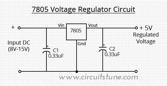Voltage Regulator Circuit Using LM7805 | Schematic Circuit