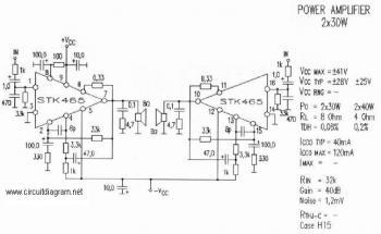 2x30W Audio Amplifier with STK465 circuit diagram