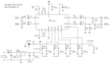 Pre-Amp + Tone Control with TDA1524A circuit diagram