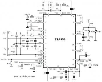 2 x 70W Power Stereo Amplifier based on IC STA550