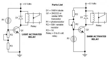 Dark and Light Activated Relay circuit diagram