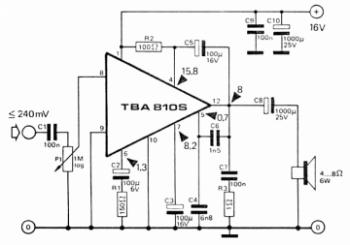 TBA810 amplifier circuit diagram