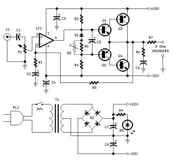 18W Audio Amplifier Circuit Diagram