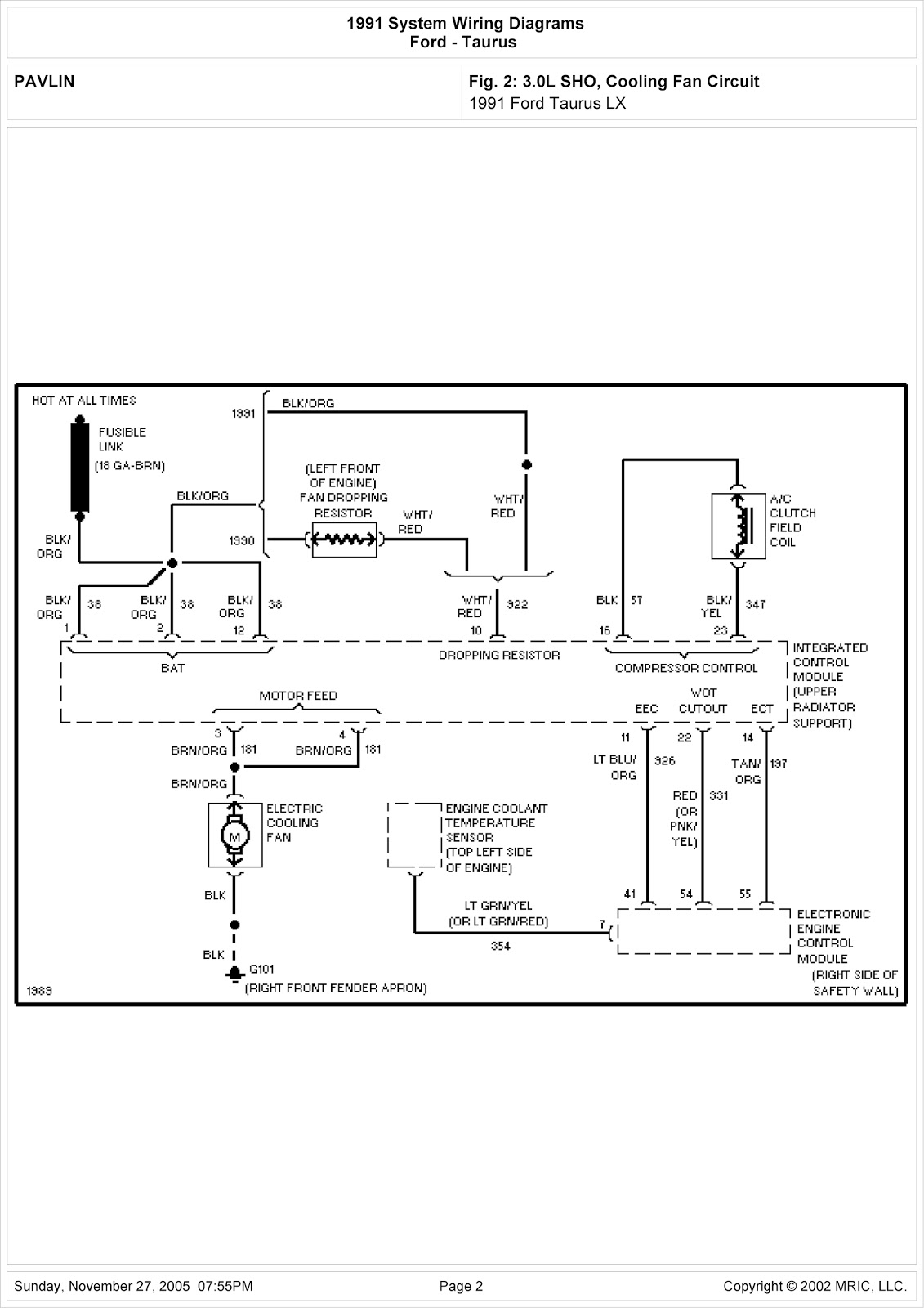 Integrated Control Panel Wiring Diagram Mercury Sable Ls
