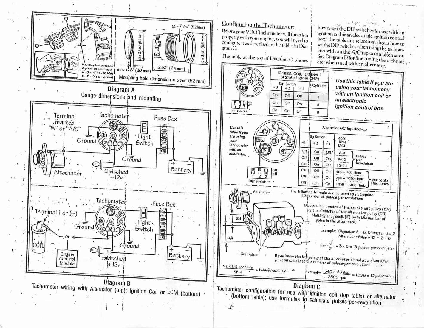 vdo tacho dip switch settings vdo marine tachometer wiring vdo gauge wiring diagram schematic