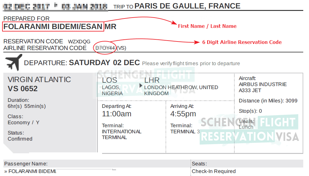 Flight Itinerary Sample and Guidance on Verify Flight Reservations