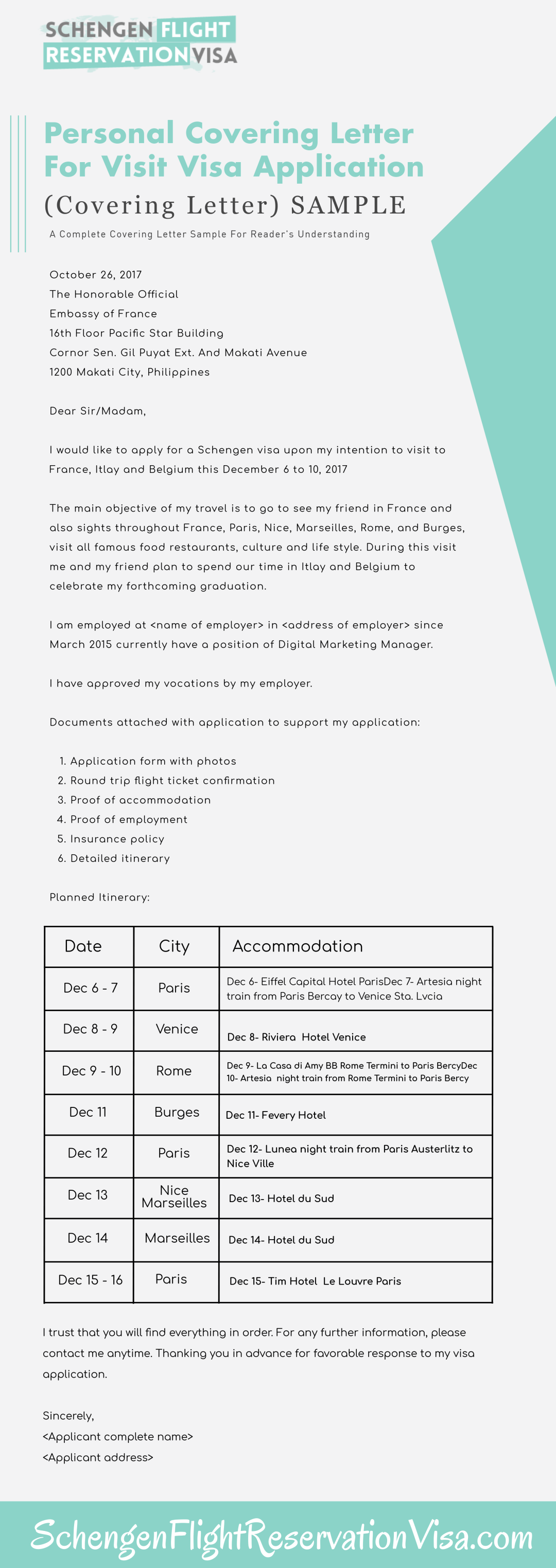 Personal Covering Letter Guide And Samples For Visa Application Process