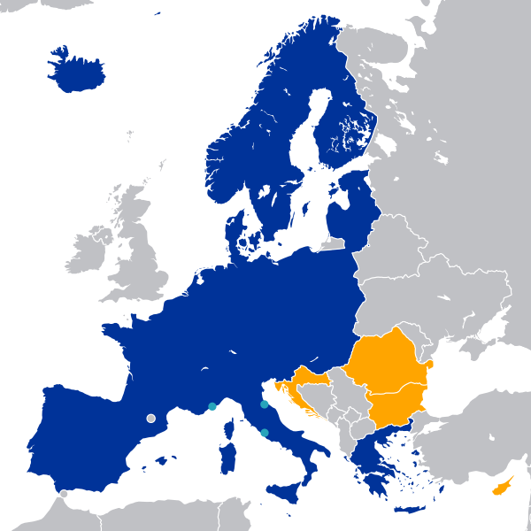 Map of the Schengen Countries Area