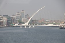 Bridge over the LIffey shaped as a harp on its side