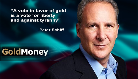 peter schiff standing in front of an American flag