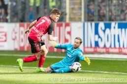Fussball Bundesliga, 24. Spieltag: SC Freiburg - TSG 1899 Hoffenheim am 11.03.2017 im Schwarzwaldstadion, Freiburg, Deutschland