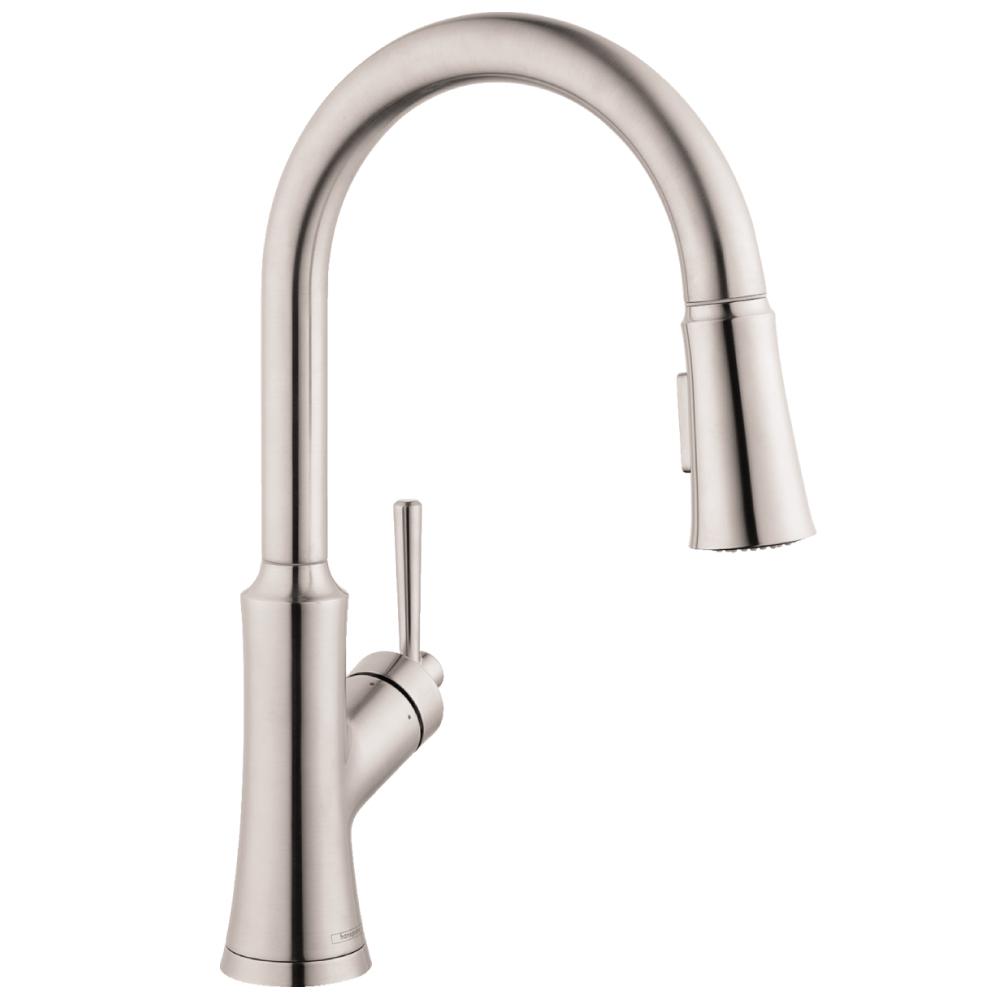 hansgrohe joleena 2 spray high arc kitchen faucet steel optic