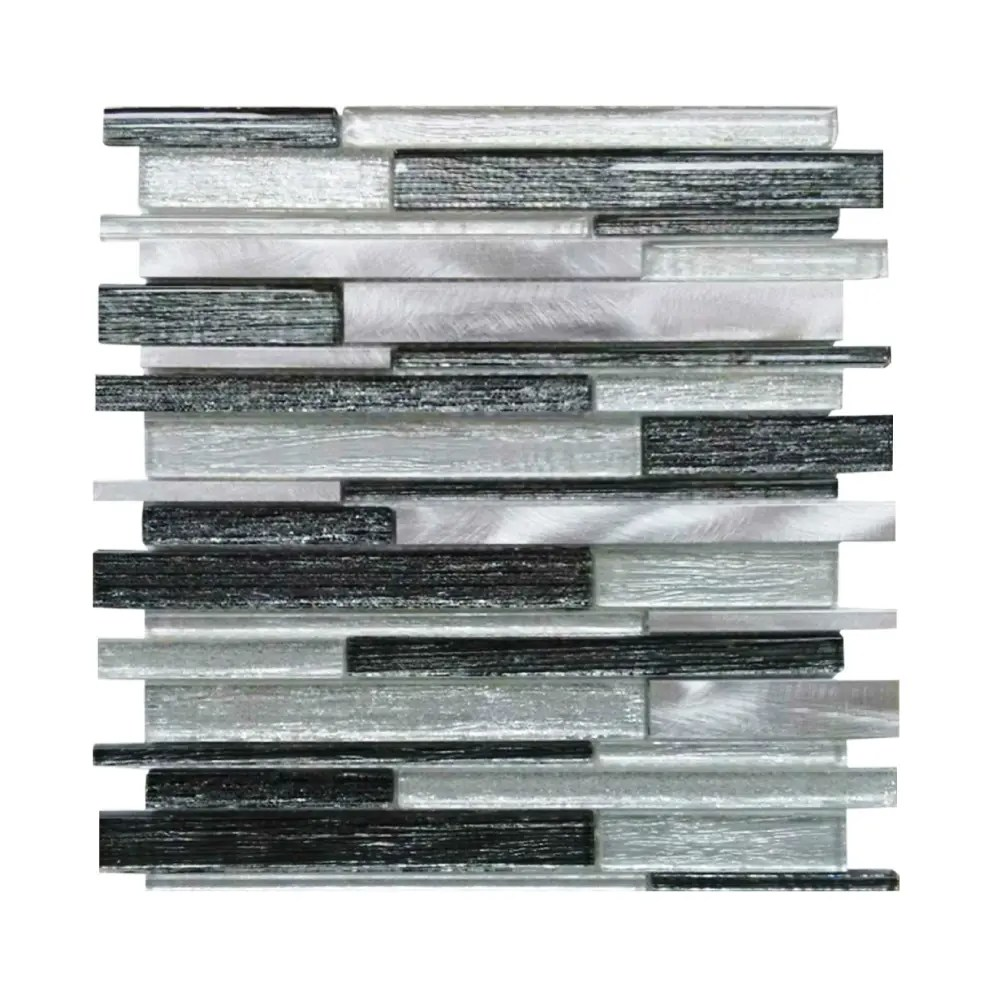 metallic fabric brick series linear strip mosaic tile
