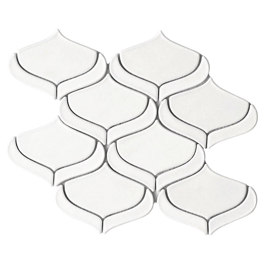 emser myth arabesque white ceramic mosaic tile