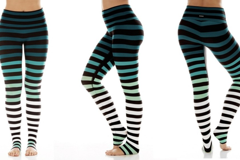 kdeer caroline stripe yoga leggings green white mint ombre