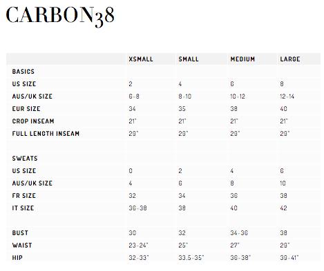 carbon38 size chart