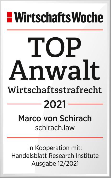 WirtschaftsWoche TOP Anwalt Wirtschaftsstrafrecht 2021