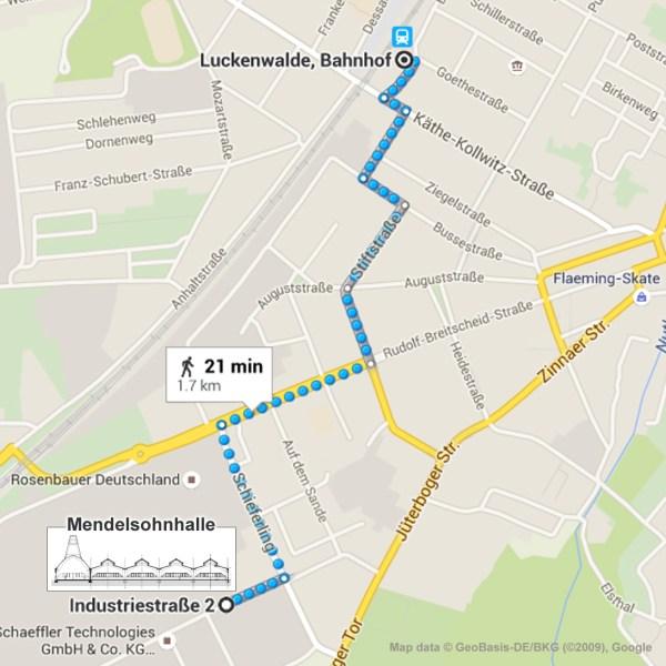 Luckenwalde Mendelsohnhalle Map