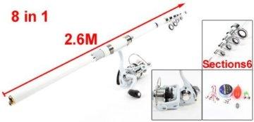 8 in 1 FischeBobbers Hooks Alarm Glocke 8.5 Ft Angelrute Weiß Set -