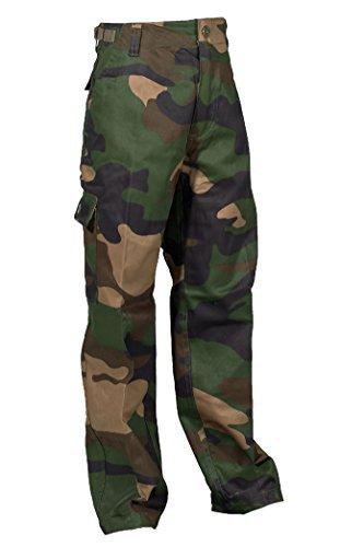 Robuste + Komfortable US Style Kinder Jungen Mädchen Rangerhose Freizeithose Kampfhose viele verschiedene Farben S-XXXL (L (146/152), Woodland) -