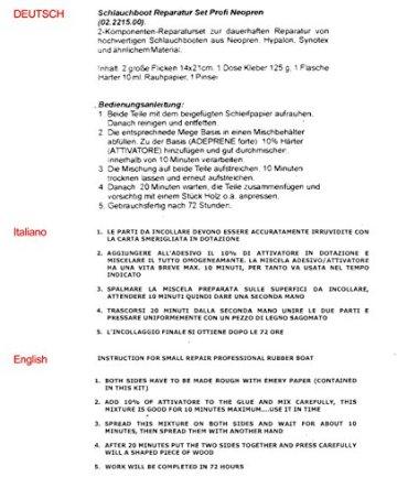 Yachticon Schlauchboot Reparaturset Profi Neopren für Gummiboot - 2-komponenten Reparatur set für Neopren hypalon Synotex bestehend aus Flicken, Kleber, Härter, Rauhpapier, Pinsel - schwarz -