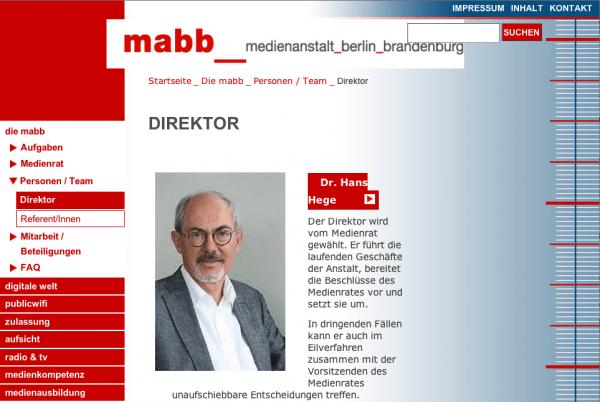 Screenshot Webseite der MABB www.mabb.de