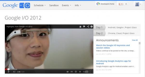 Google IO 2012 Glass Vorstellung