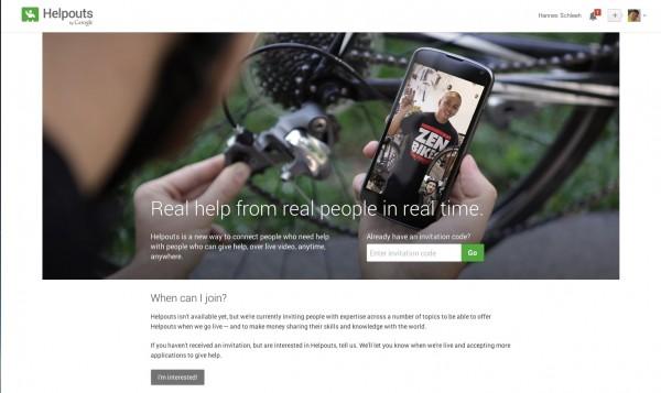 Screenshot Google Helpout Seite