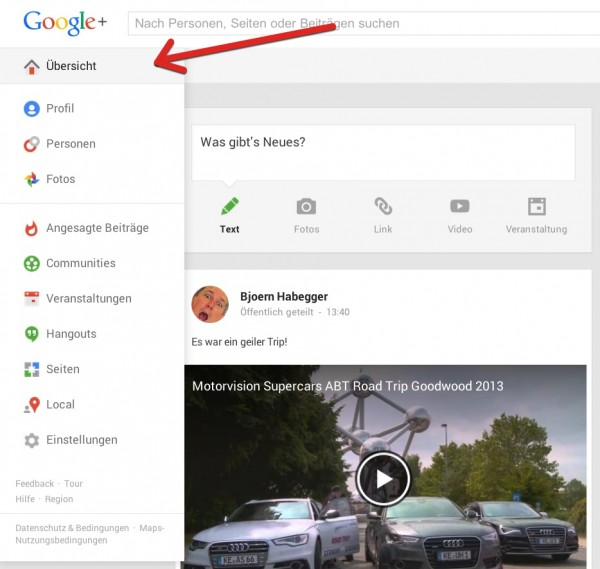 1. Wählen Sie in der Übersicht auf Google Plus Hangouts aus