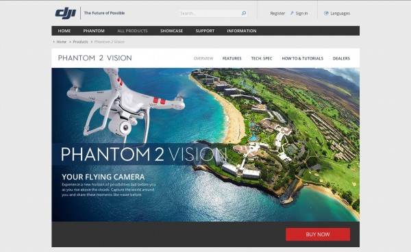 DJI PHANTOM 2 VISION Screenshot Webseite